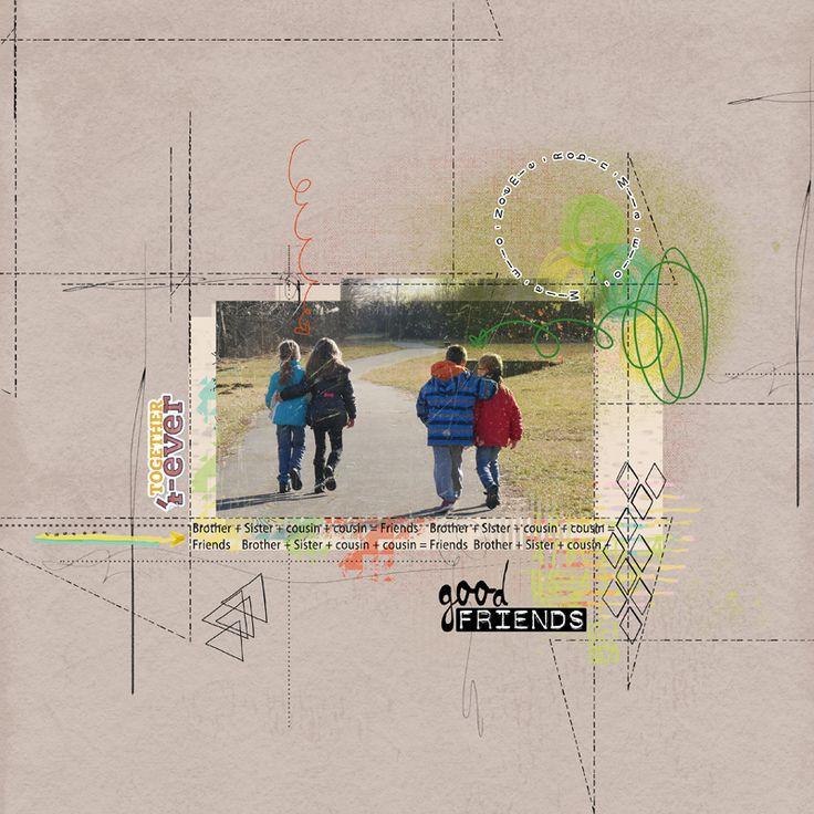 Good Friends pour le spootlight sale de NBK Design.    J'ai déjà utilisé cette photo, mais elle se prêtait vraiment bien à l'utilisation de ces produits sur l'amitié. le mouvement donné par les flèches, traits et gribouillis fait tout l'intérêt de la page