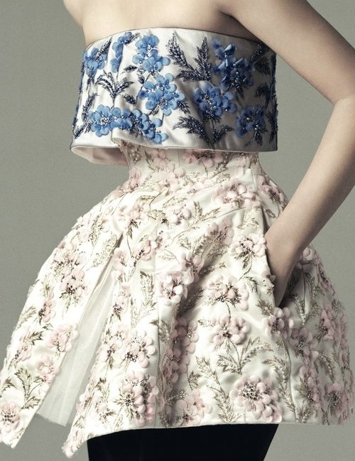 The embroidery and bodice is stunning, although I wish it was a full-length dress (Liu Wen shot by Benjamin Alexander Huseby for Dazed & Confused, December 2012)