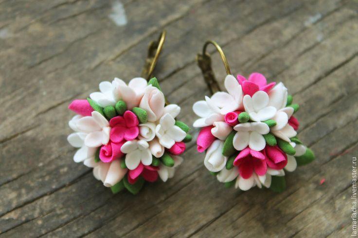 Серьги с цветами из полимерной глины, весенние свадебные украшения - цветы ручной работы