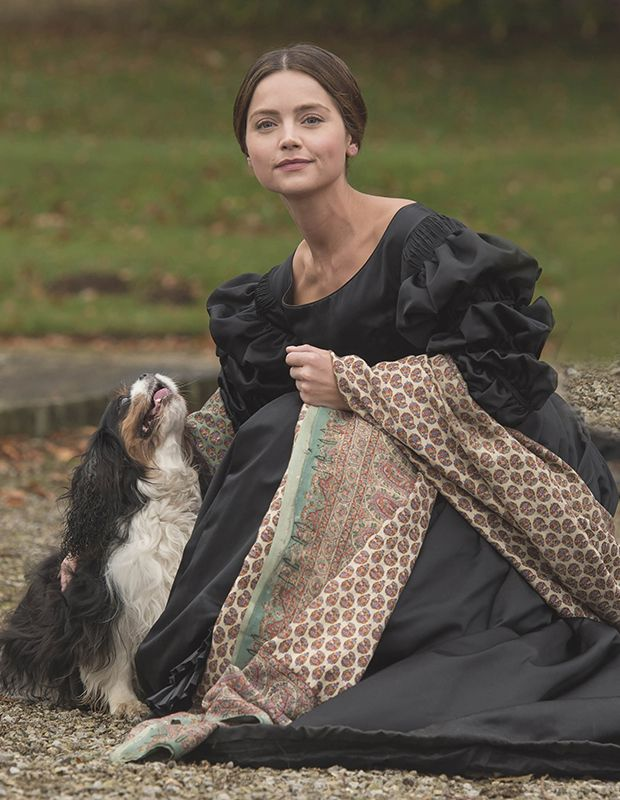 Queen Victoria - Jenna Coleman  and her little dog Dash - real name  Tori!