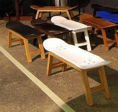 Banc Skate pour les fans de glisse skateboard, surf. idéal magasin de surf, mobilier planche skate