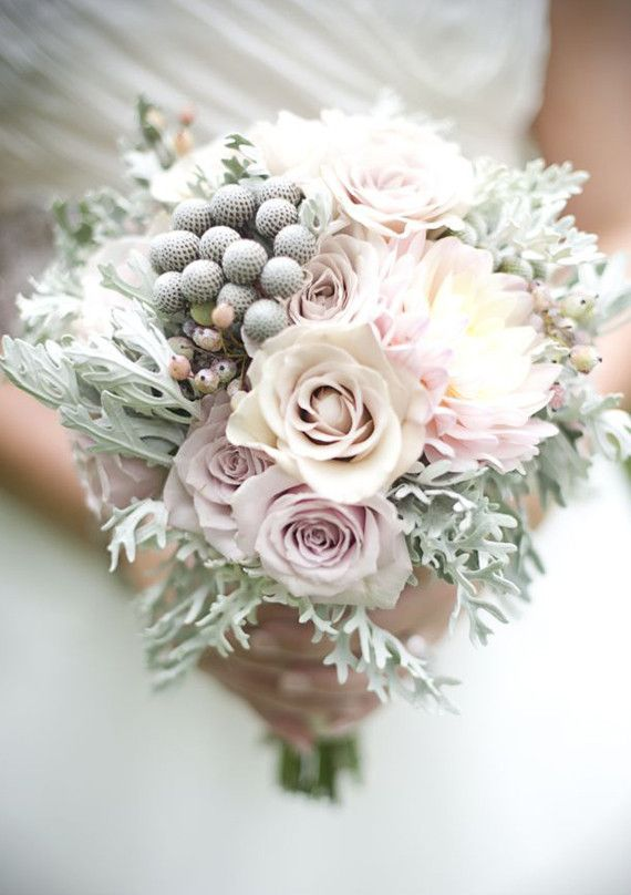 This bouquet looks like it is covered in frost. Beautiful! | Wedding and Party Ideas | 100 Layer Cake