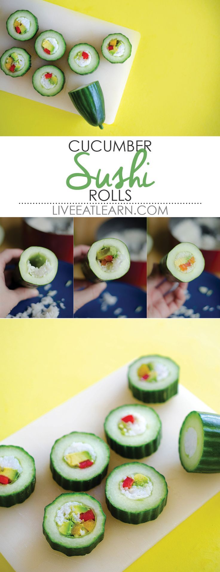 This healthy cucumber sushi roll recipe is an easy and refreshing way to enjoy sushi, without all the hassle! Complete with a spicy sriracha mayo sauce. // Live Eat Learn
