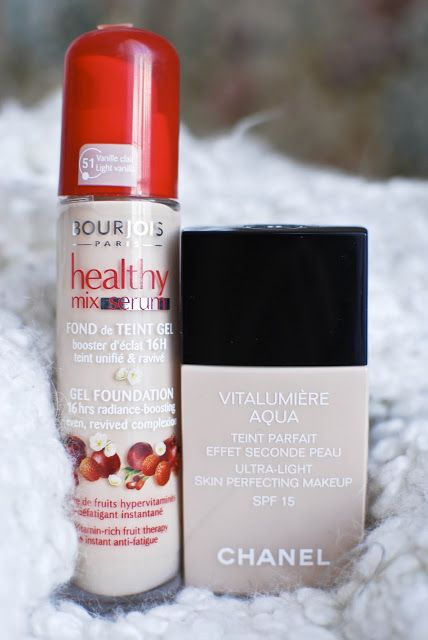My two favorite foundations. I use Bourjois Healthy Mix Serum [shade 51, Vanille Claire] for every day makeup and Chanel's Vitalumiere Aqua [ shade Beige 10] for more special occasions.  I bought the Bourjois one for 19 euros and the Chanel one for 40 euros.My skin is very light and normal to dry . It has neither intense yellow nor intense red tones. You understand, finding a nice foundation is always a struggle. So these two are perfect for me because they are neither too pink nor too…