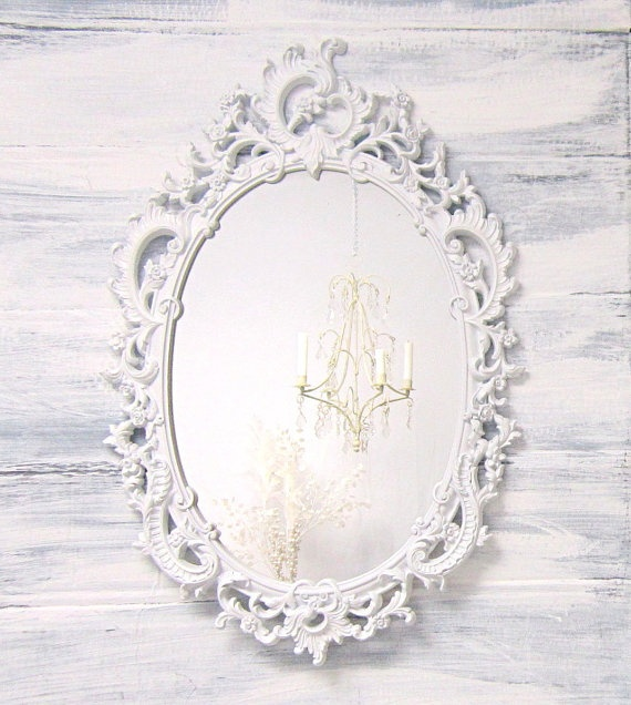 Hollywood regency mirror for sale large white by for Large decorative mirrors for sale