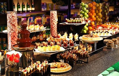 Dessert Buffet Assortment Of Fresh Fruit Petit Fours And