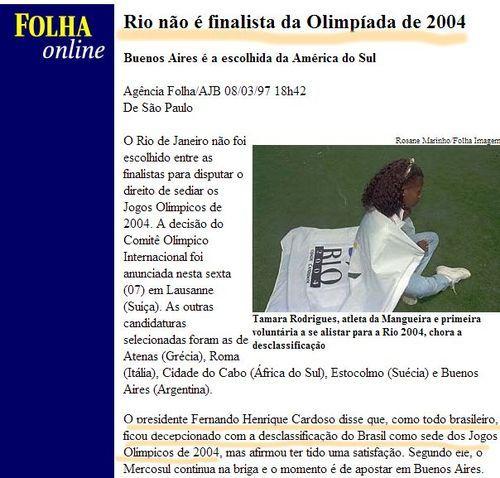 """Tunel do tempo: A mágoa Tucana contra a Copa do Mundo e Olimpiadas """"Rio não é finalista da Olimpíada de 2004"""""""