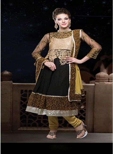 Outstanding black with gold embroidered #anarkali_suits