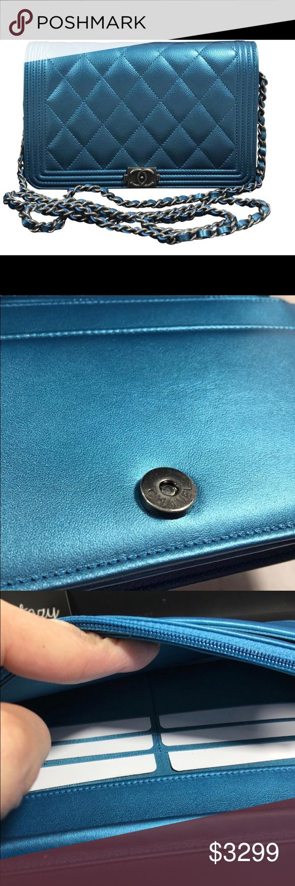 """Authentic Chanel Boy WOC Crossbody in blue! NIB! Brand new Chanel in box. 100 percent authentic! Stunning popular color! This pops! 7.5"""". Crossbody chain. Comes with box, dustbag, Card. CHANEL Bags Crossbody Bags"""