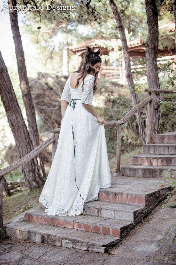 Cream - Ivory 50s Wedding Dress Full Skirt Bridal Dress Original 50s Style Bridal Dress Tea Length Dress - Handmade by SuzannaM Designs