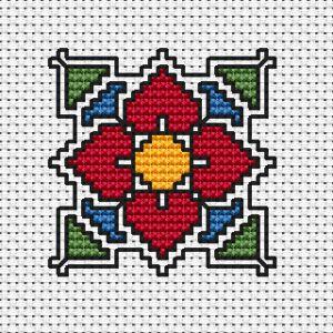 Миниатюрен декоративен мотив-цвете,вдъхновен от българските народни шевици.