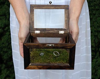 Ring bearer box - Glass and Wood terrarium style ring bearer box for rustic or woodland style wedding
