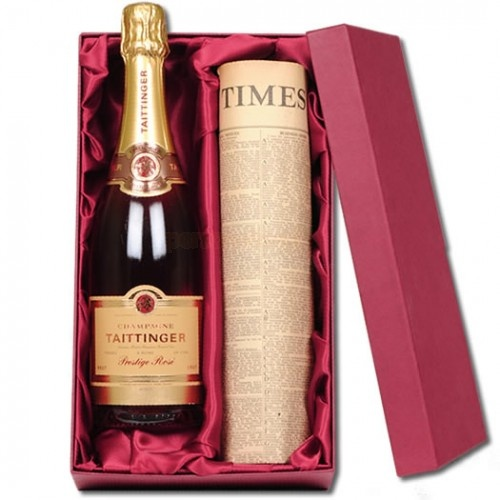 Personalised Rose Taittinger Champagne and Original Newspaper  from Personalised Gifts Shop - ONLY £99.95