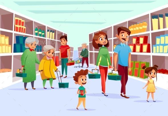 People Family Shopping in Supermarket Vector Cartoon design Cartoon illustration Shop illustration