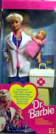 """Dr. Barbie Doll - Hear Baby's Heartbeat! w """"Magic"""" Stethoscope 1993) by Mattel. $47.79. Includes: Barbie Doll approx. 11.5"""" tall with blond hair & blue eyes. Barbie Doll wears a Pair dark blue Earrings, has a light blue Bow in her hair, a dark blue Finger Ring, a dark blue Dress, a white Lab (Doctor) Coat w/Dr. Barbie decal on lapel, a Pair of Shoes, & comes with a Baby Doll approx. 2-3/4"""" tall w/blond molded hair & wrapped in a Pink Blanket. Also comes with a white Doct..."""