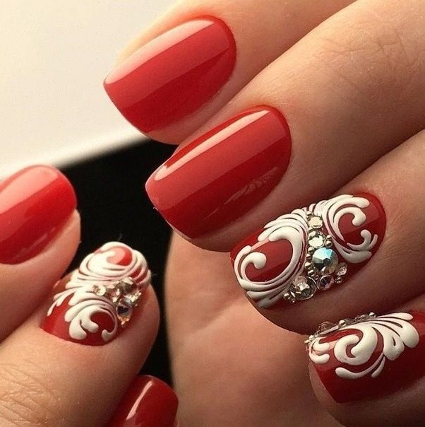 Autumn nails, Beautiful red nails, Fall nails 2016, Fall nails trends, New year nails ideas 2017, Party nails ideas, Red and white nails, Red and white nails ideas