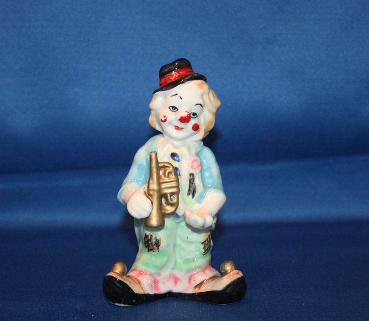 Vintage Occupied Japan Clown with Trumpet Hand Painted Ceramic Figurine Collectible Figure Musical Clown by KattsCurioCabinet on Etsy
