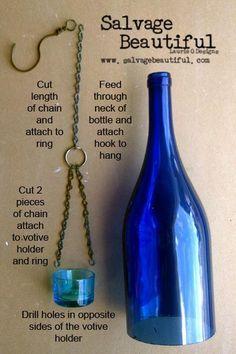 Hanging wine bottle lantern.