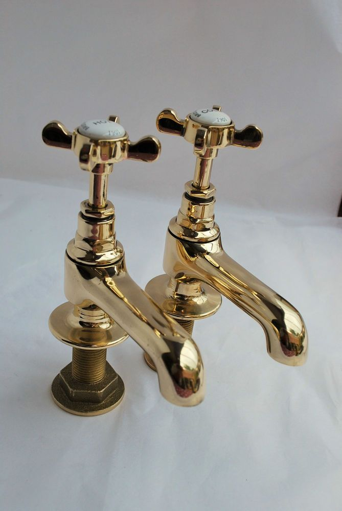 BRASS BATHROOM BASIN TAPS RECLAIMED & REFURBISHED VINTAGE OLD TAPS IN BRASS