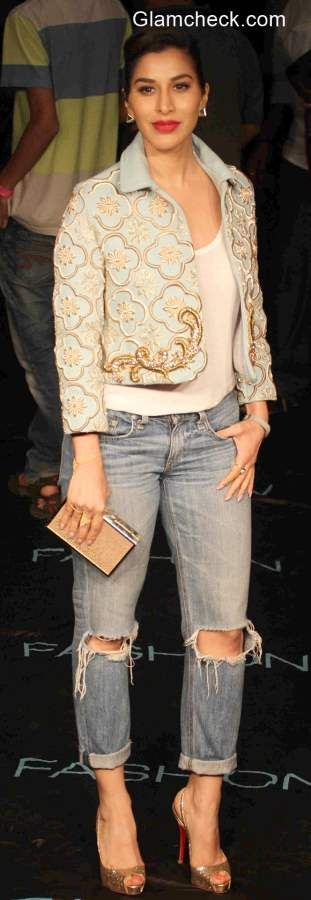 Boyfriend Jeans with Embroidered Crop Jacket