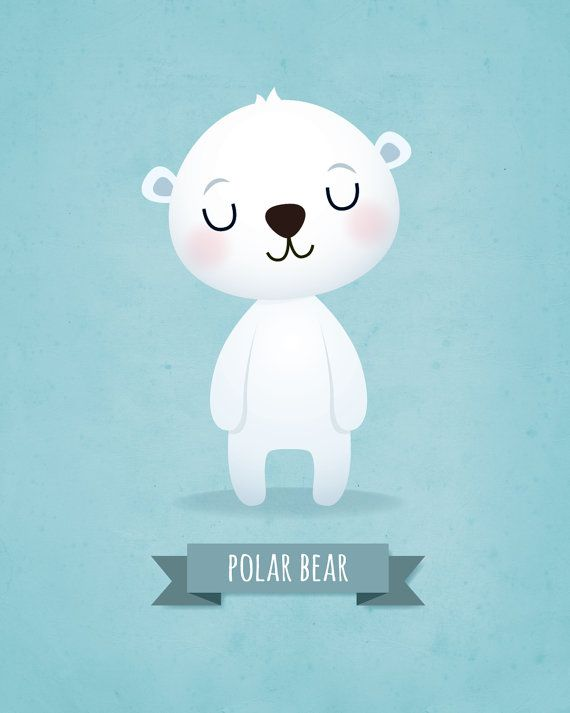 Nursery art print Nursery wall decor Childrens art Kids wall art Panda Koala Bear Polar bear Set of prints Baby boy Wall art Boys nursery. Set