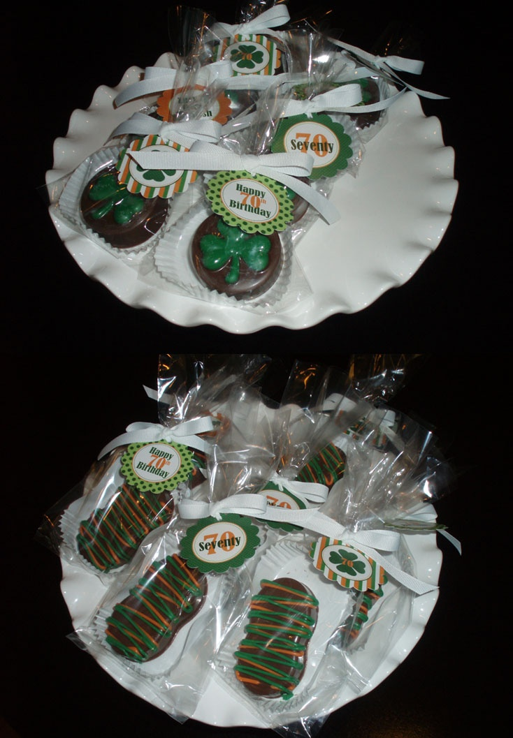 """Inspiration only: """"Shamrock Chocolate Covered Oreos and Irish themed Chocolate Covered Nutter Butters"""""""