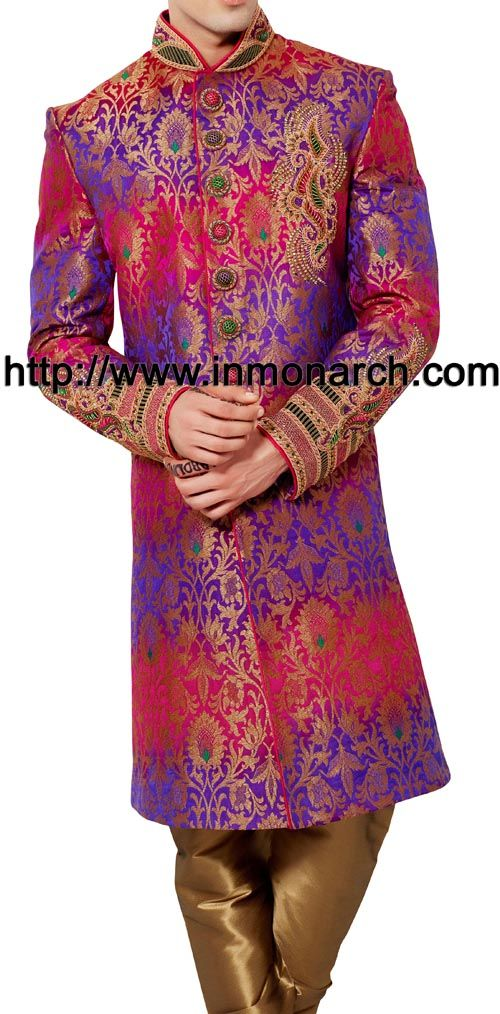 Stylish Multicolor Brocade Sherwani Itemcode :SH513