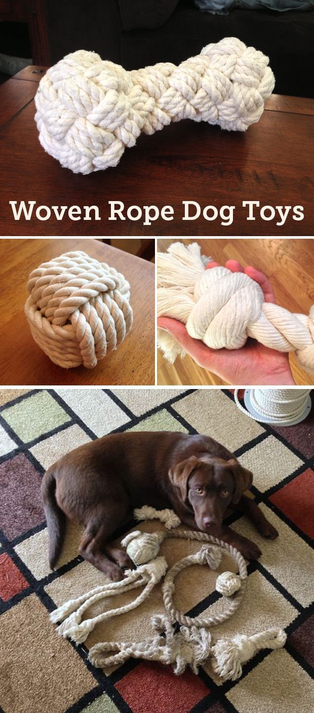 """How to tie a woven rope bone. I'll be showing you how to do it with 3/8"""" cotton rope which makes a toy suitable for large to extra large dogs. #PetProjects #mansbestfriend"""