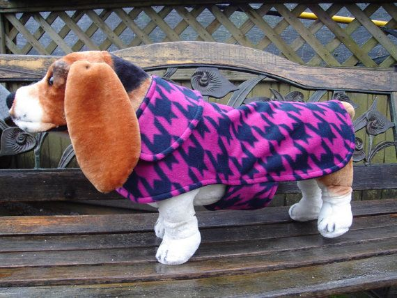 Navy and Pink Houndstooth Fleece Coat  Size Medium  by KozyCanines