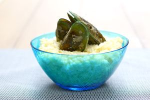 champagne muscles with cream risotto