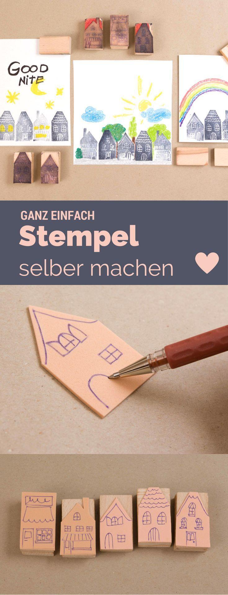 Stempel selber machen - einfach Vorlagen anfertigen mit einem Kugelschreiber und Moosgummi. Kinderleicht und sehr günstig - auch gut als Bastelidee für Kindergeburtstage!