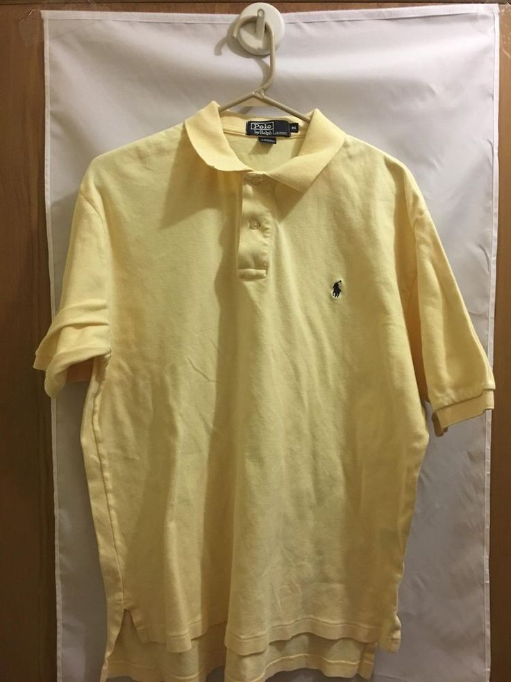 Men's Polo By Ralph Lauran Yellow Black Pony Men's Polo Shirt Sz Med  #RalphLauren #PoloRugby