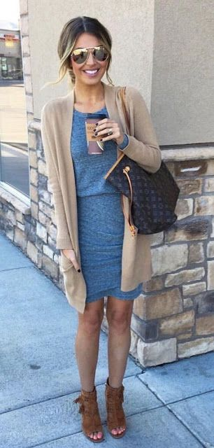 Women's fashion | Blue fold dress with neutral cardigan and open toe booties