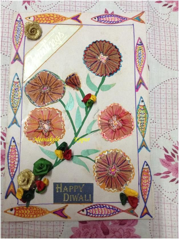 DIY Diwali Card made with pencil chilke and few items that we receive from gifts wrappings
