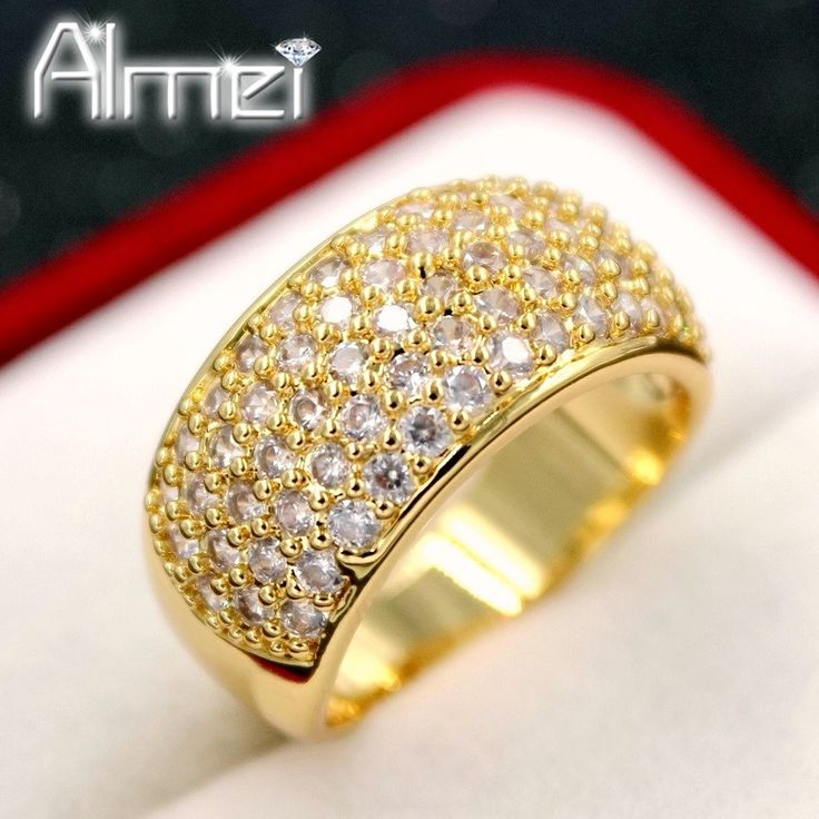 Find More Rings Information about Almei 18K/Rose Gold Plated Big Rings for Women Fashion Wide Punk Ring Jewelry With Small CZ Diamond Anillos Bague Femme CR002,High Quality jewelry braclet,China jewelry cocktail Suppliers, Cheap jewelry cloth from Almei Jewelry Store on Aliexpress.com