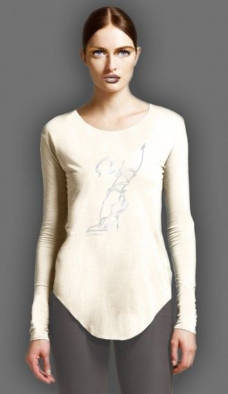 Metallic Pearl Ooh La La Shoe Ivory long sleeve tee