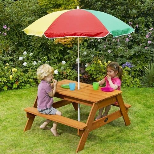 Kids Picnic Table Children Kids Play Sturdy Garden Wood Benches Outside Fun  | Kids World | Pinterest | Kids Picnic And Picnic Tables