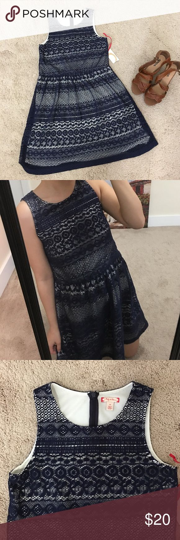 NWT. Nordstrom Ruby & Bloom navy crochet Dress NWT. Nordstrom Ruby & Bloom navy crochet Dress. Size 14 youth / small for women sizes. Zip up. 80% cotton. 20% nylon.  100% polyester for lining ruby & bloom Dresses