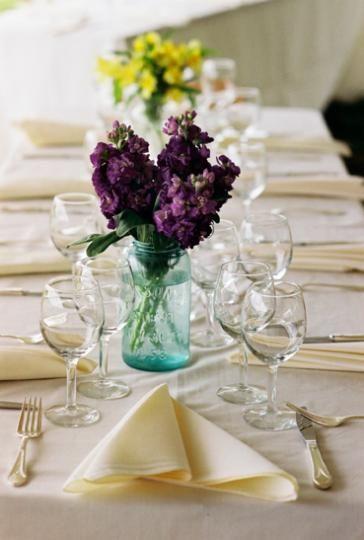 Simple Peacock Centerpieces | Do-It-Yourself Wedding Reception Centerpieces | St. Simons Island ...