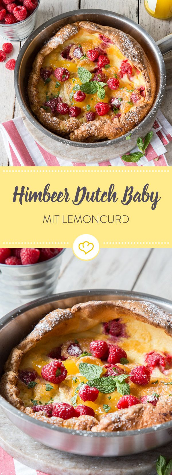 Hol dir den Sommer auf deinen Frühstücksteller: Ein zauberhaft fluffiges Dutch Baby trifft auf süße Himbeeren und Lemon Curd.
