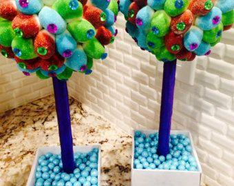 Neón de color azul brillante, verde, púrpura, Topiary de centro de mesa Candy Land del pavo real, boda, Mitzvah, Sweet 16, arco iris, Candy Buffet, dulce 16