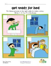 bedtime sequencing worksheet - would be great after reading Good Night Moon!