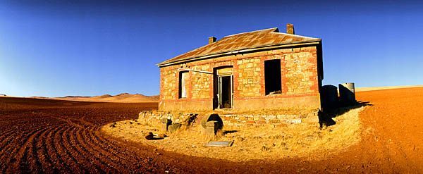 Abandoned homestead near Burra in South Australia, iconic image from the cover of Midnight Oil's 'Diesel & Dust'