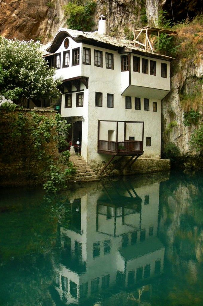 "Blagaj is a village-town in Bosnia and Herzegovina The village is located at the spring of the Buna river and a historical ""Tekke"" -(a Tekke is a building made specifically for gatherings of a Sufi brotherhood) it is also known as the Dervish monastery. The Blagaj Tekke was built around 1520, with elements of old Turkish - Ottoman architecture and Mediterranean style, it is considered a national monument in Bosnia and Herzegovina."