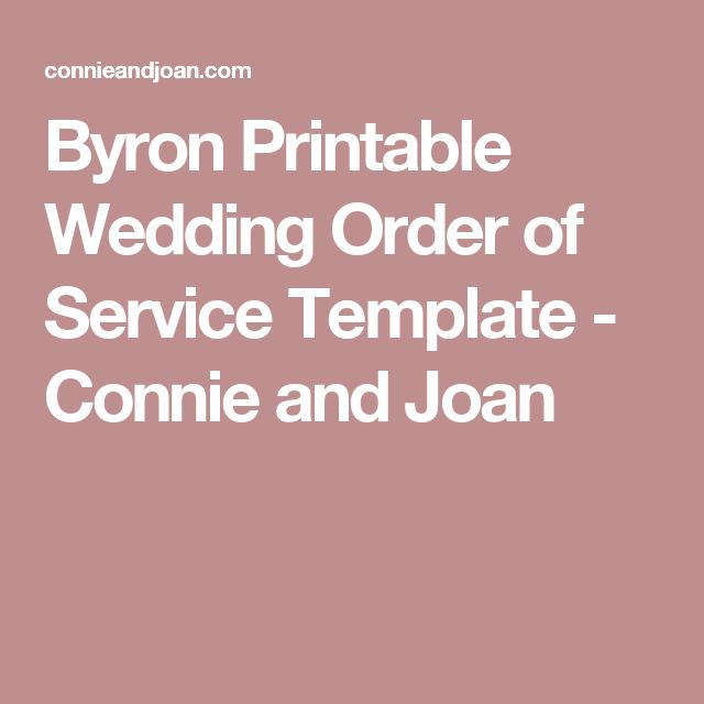 Byron Printable Wedding Order of Service Template - Connie and Joan