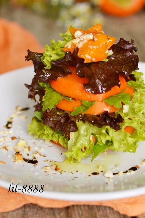 Хурма с салатным миксом.. Рецепт c фото, мы подскажем, как приготовить!