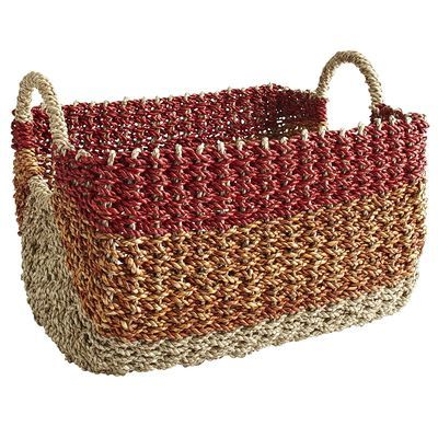Multicolor Pandanus Rope Basket - from Pier 1 but could totally get the same look with a normal basket and some craft paint.