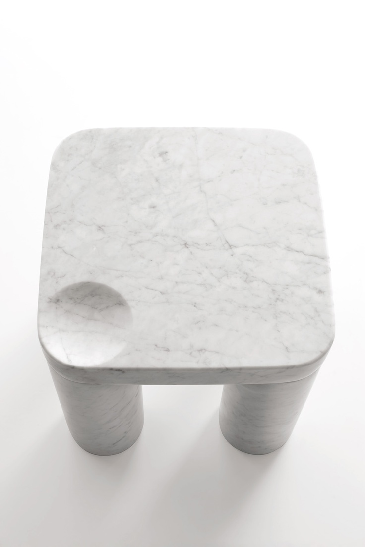 """Poodle"" by Naoto Fukasawa 2011 Low table in White Carrara marble, matt polished…"