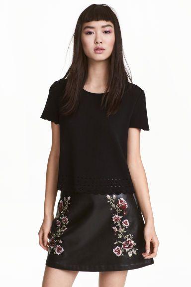 Wyszywana spódnica - Czarny/Róże - ONA | H&M PL 1