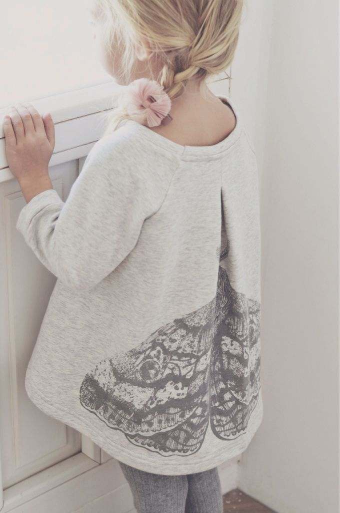 cute little gray tunic with vintage moth. LOVE IT!